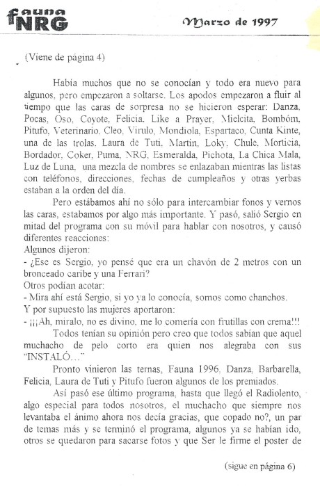 Diario Fauna NRG No 1 - Recuerdos